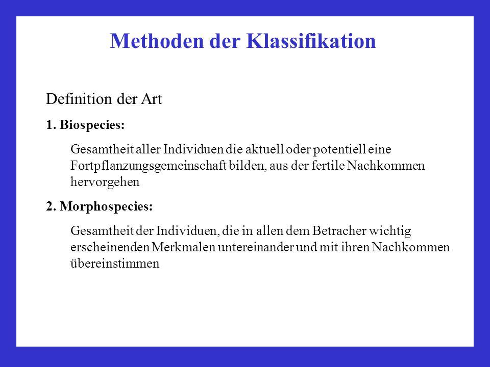 Methoden der Klassifikation Definition der Art 1. Biospecies: Gesamtheit aller Individuen die aktuell oder potentiell eine Fortpflanzungsgemeinschaft