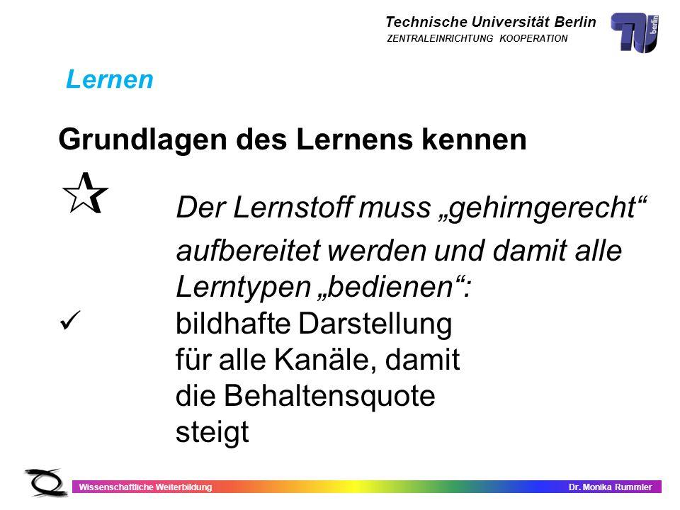 Technische Universität Berlin Wissenschaftliche WeiterbildungDr. Monika Rummler ZENTRALEINRICHTUNG KOOPERATION Grundlagen des Lernens kennen Der Lerns