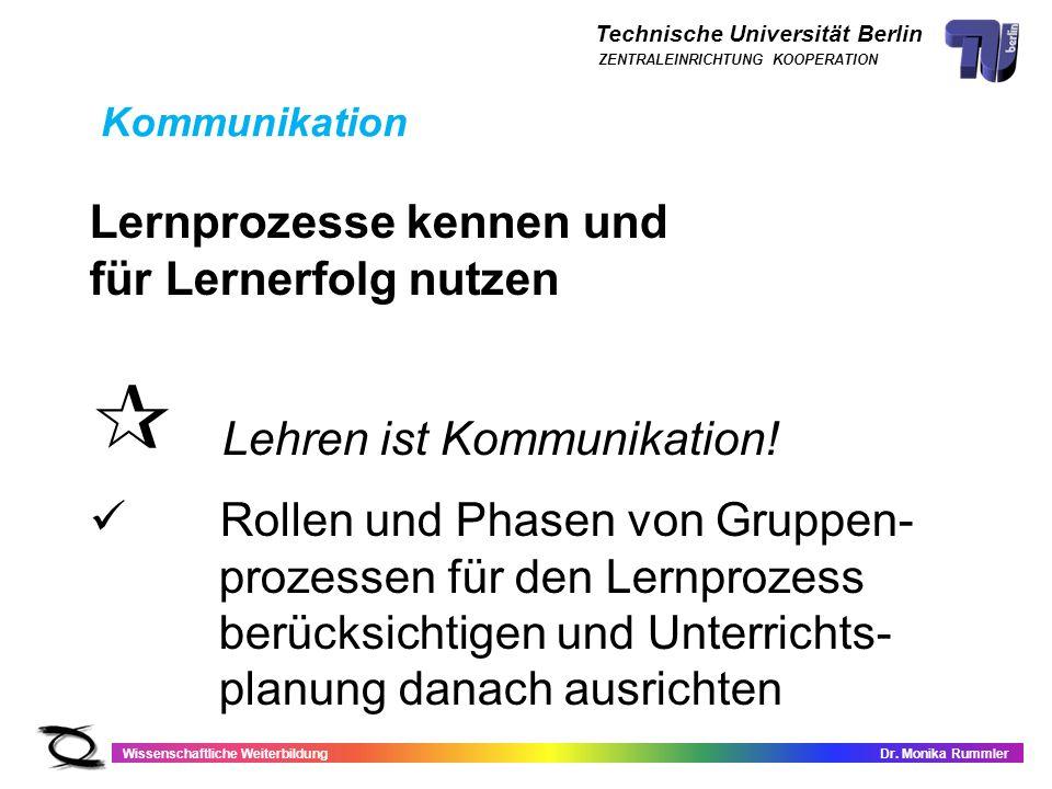 Technische Universität Berlin Wissenschaftliche WeiterbildungDr. Monika Rummler ZENTRALEINRICHTUNG KOOPERATION Lernprozesse kennen und für Lernerfolg