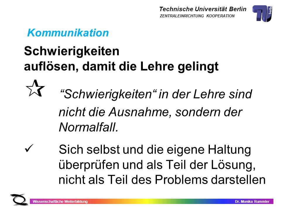 Technische Universität Berlin Wissenschaftliche WeiterbildungDr. Monika Rummler ZENTRALEINRICHTUNG KOOPERATION Schwierigkeiten auflösen, damit die Leh