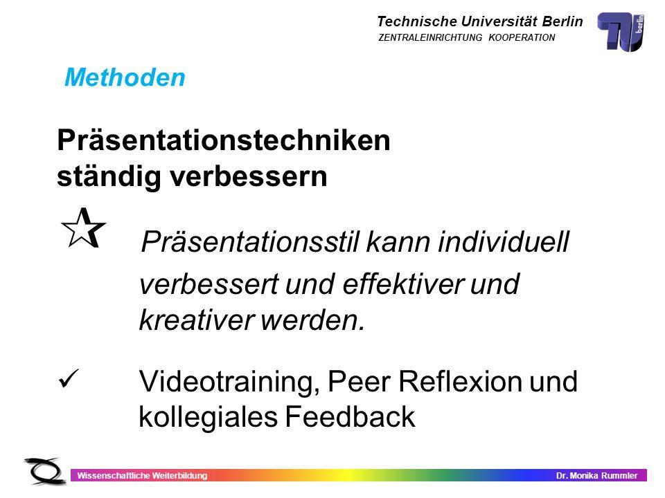 Technische Universität Berlin Wissenschaftliche WeiterbildungDr. Monika Rummler ZENTRALEINRICHTUNG KOOPERATION Präsentationstechniken ständig verbesse