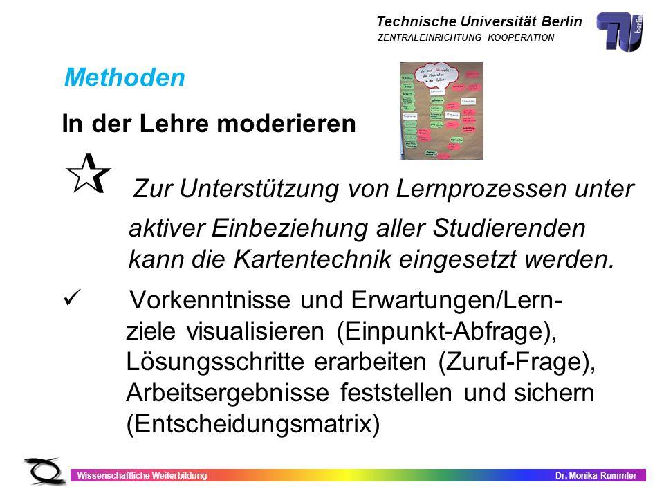 Technische Universität Berlin Wissenschaftliche WeiterbildungDr. Monika Rummler ZENTRALEINRICHTUNG KOOPERATION In der Lehre moderieren Zur Unterstützu