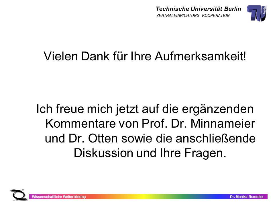 Technische Universität Berlin Wissenschaftliche WeiterbildungDr. Monika Rummler ZENTRALEINRICHTUNG KOOPERATION Vielen Dank für Ihre Aufmerksamkeit! Ic