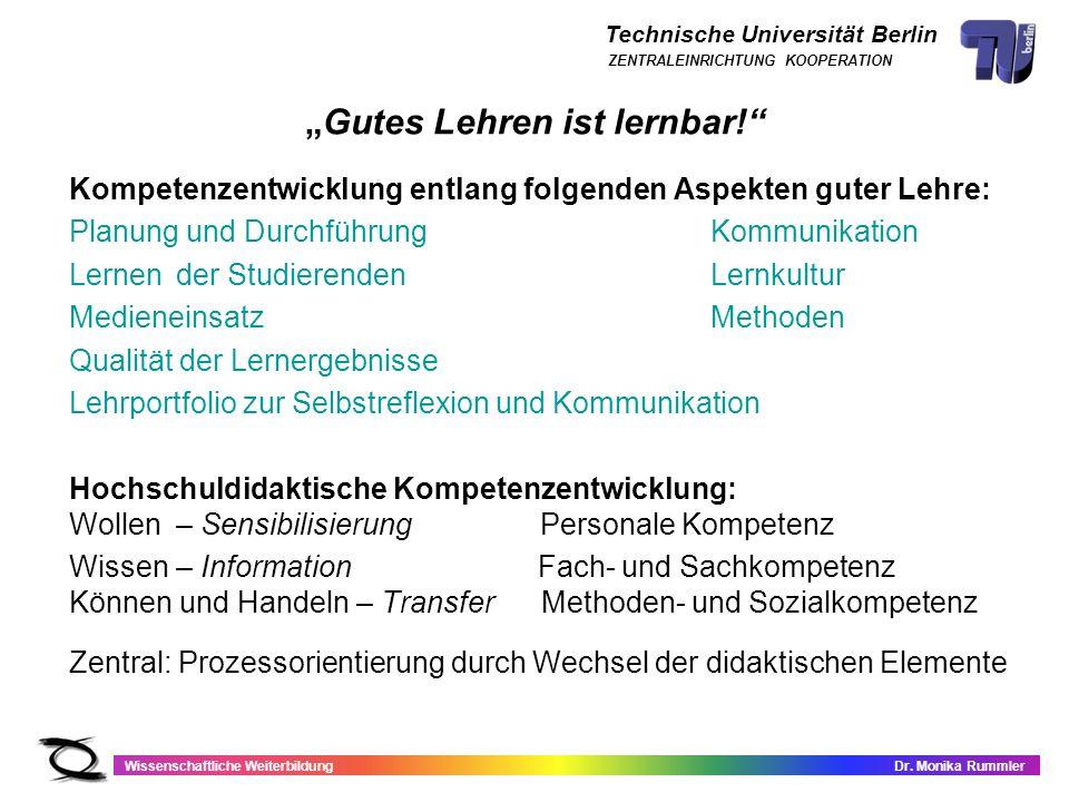 Technische Universität Berlin Wissenschaftliche WeiterbildungDr. Monika Rummler ZENTRALEINRICHTUNG KOOPERATION Gutes Lehren ist lernbar! Kompetenzentw