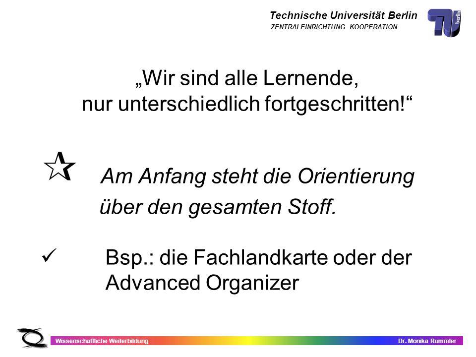 Technische Universität Berlin Wissenschaftliche WeiterbildungDr. Monika Rummler ZENTRALEINRICHTUNG KOOPERATION Wir sind alle Lernende, nur unterschied