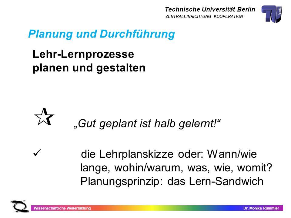 Technische Universität Berlin Wissenschaftliche WeiterbildungDr. Monika Rummler ZENTRALEINRICHTUNG KOOPERATION Planung und Durchführung Lehr-Lernproze