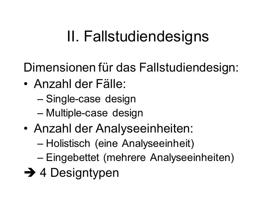 II. Fallstudiendesigns Dimensionen für das Fallstudiendesign: Anzahl der Fälle: –Single-case design –Multiple-case design Anzahl der Analyseeinheiten: