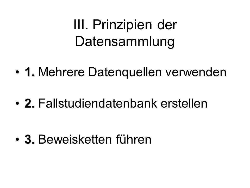 III.Prinzipien der Datensammlung 1.1. Mehrere Datenquellen verwenden 2.2.