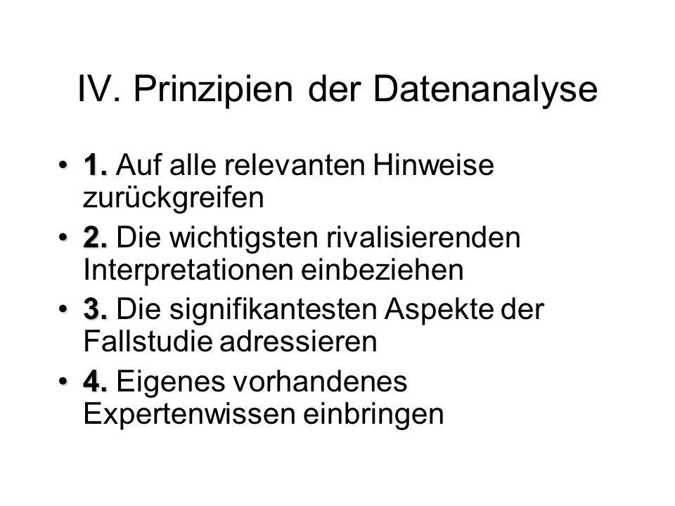 IV.Prinzipien der Datenanalyse 1.1. Auf alle relevanten Hinweise zurückgreifen 2.2.