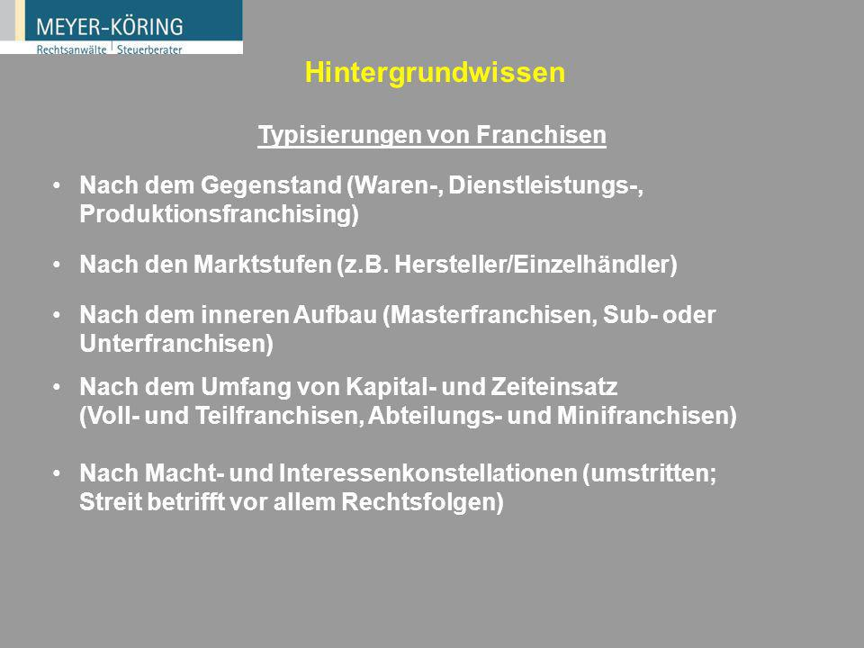 In Deutschland: Späte Entwicklung. In den USA 50er Jahre des 20. Jahrhunderts in den USA: Boom des Business Format Franchising Heute in den USA rund 3