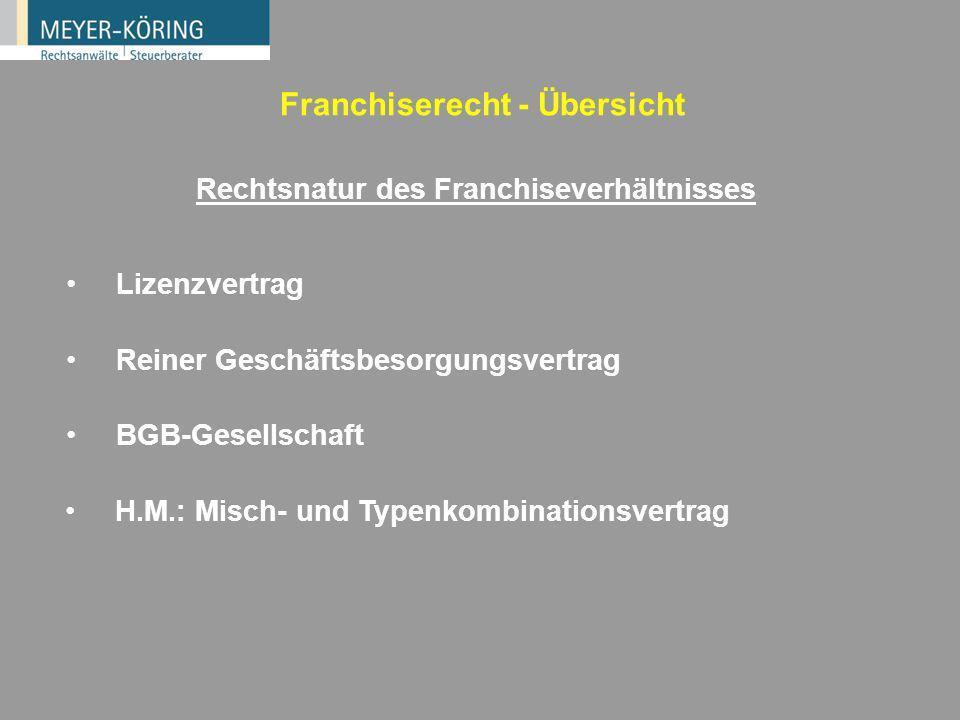 Typisierungen von Franchisen Nach dem Gegenstand (Waren-, Dienstleistungs-, Produktionsfranchising) Nach den Marktstufen (z.B. Hersteller/Einzelhändle