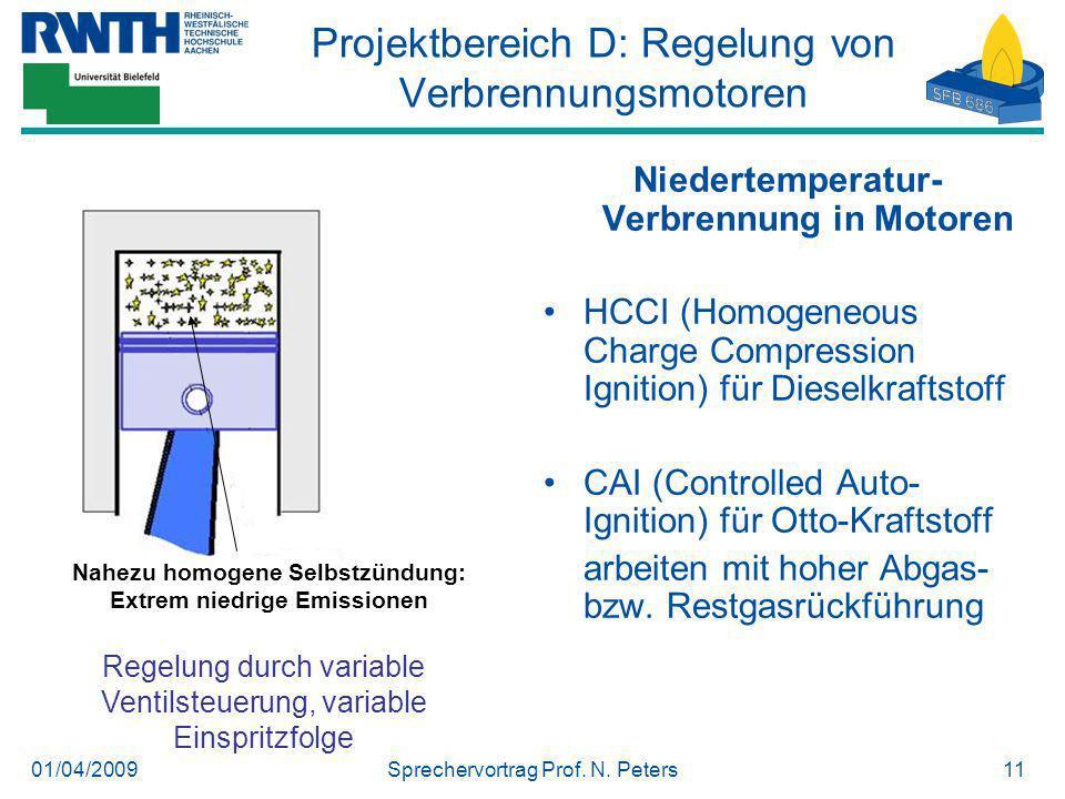 01/04/2009Sprechervortrag Prof. N. Peters11 Nahezu homogene Selbstzündung: Extrem niedrige Emissionen Regelung durch variable Ventilsteuerung, variabl
