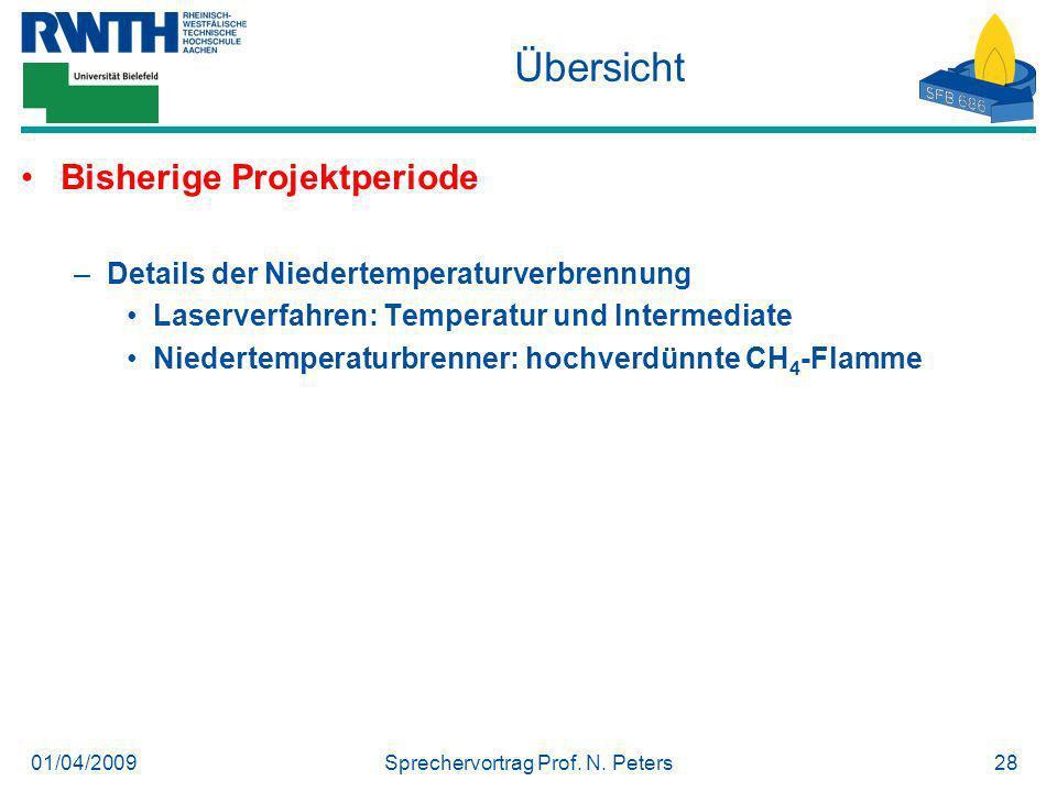 01/04/2009Sprechervortrag Prof. N. Peters28 Übersicht Bisherige Projektperiode –Details der Niedertemperaturverbrennung Laserverfahren: Temperatur und