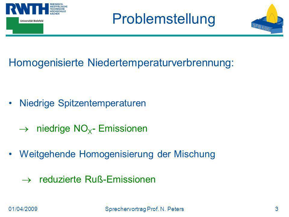 01/04/2009Sprechervortrag Prof. N. Peters3 Problemstellung Homogenisierte Niedertemperaturverbrennung: Niedrige Spitzentemperaturen niedrige NO X - Em