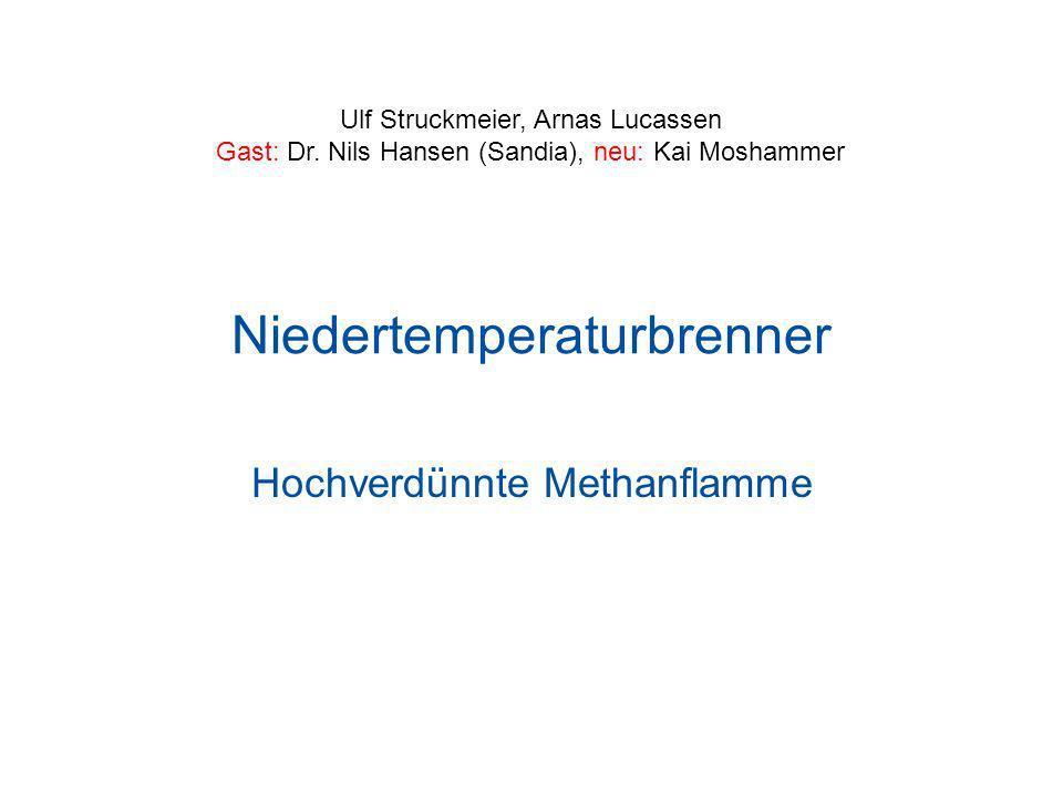 Niedertemperaturbrenner Hochverdünnte Methanflamme Ulf Struckmeier, Arnas Lucassen Gast: Dr. Nils Hansen (Sandia), neu: Kai Moshammer