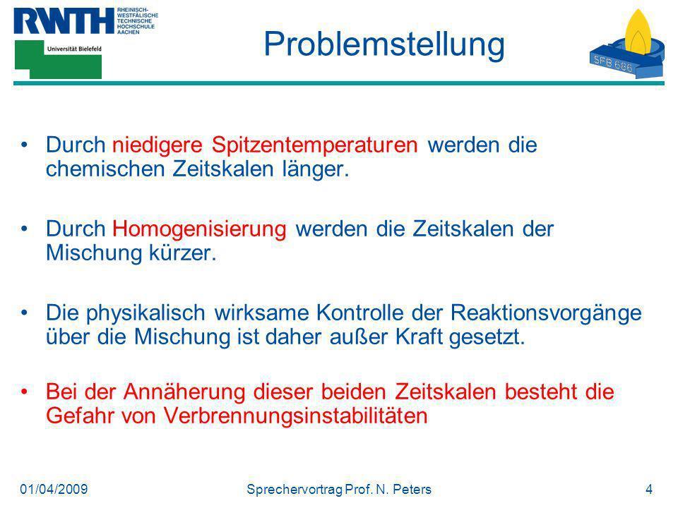 01/04/2009Sprechervortrag Prof. N. Peters4 Problemstellung Durch niedigere Spitzentemperaturen werden die chemischen Zeitskalen länger. Durch Homogeni