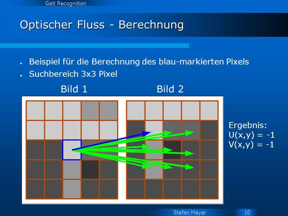Stefan Meyer Gait Recognition 10 Optischer Fluss - Berechnung Bild 1Bild 2 Ergebnis: U(x,y) = -1 V(x,y) = -1 Beispiel für die Berechnung des blau-mark
