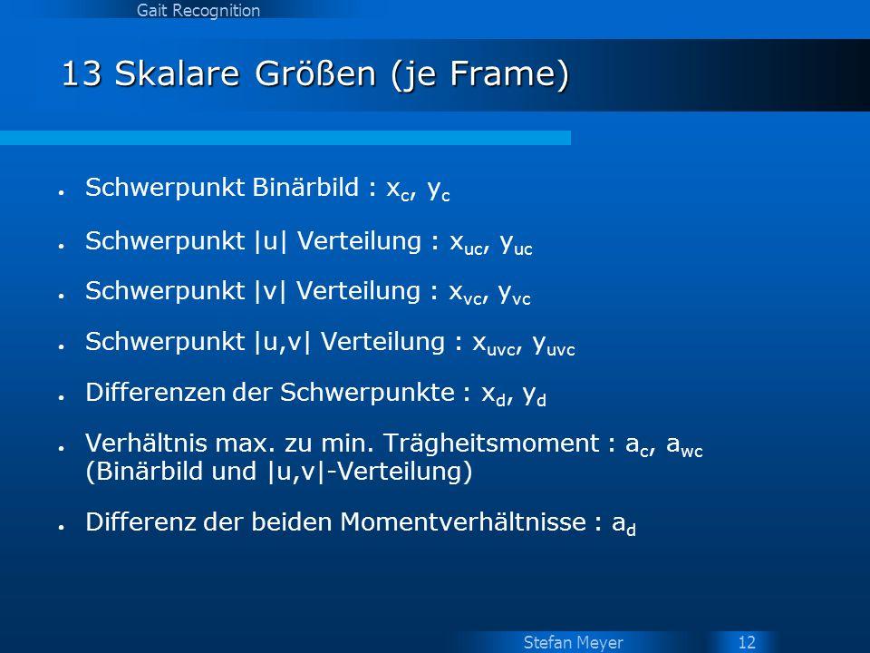Stefan Meyer Gait Recognition 12 13 Skalare Größen (je Frame) Schwerpunkt Binärbild : x c, y c Schwerpunkt |u| Verteilung : x uc, y uc Schwerpunkt |v|