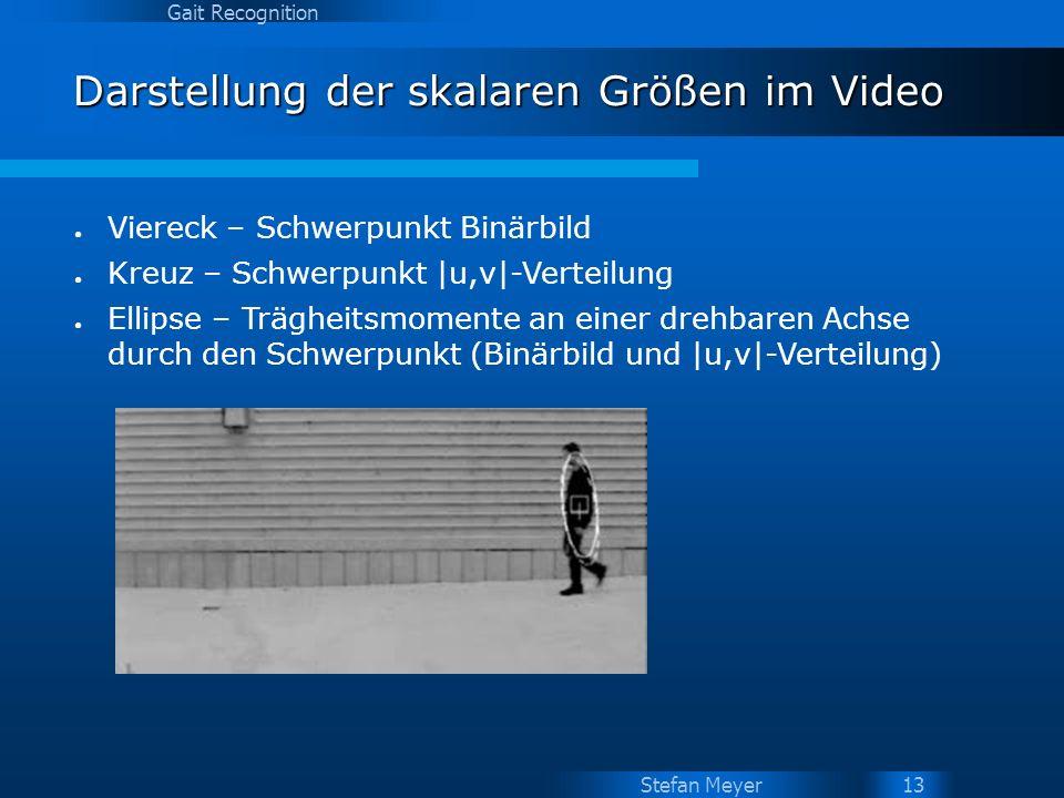 Stefan Meyer Gait Recognition 13 Darstellung der skalaren Größen im Video Viereck – Schwerpunkt Binärbild Kreuz – Schwerpunkt |u,v|-Verteilung Ellipse