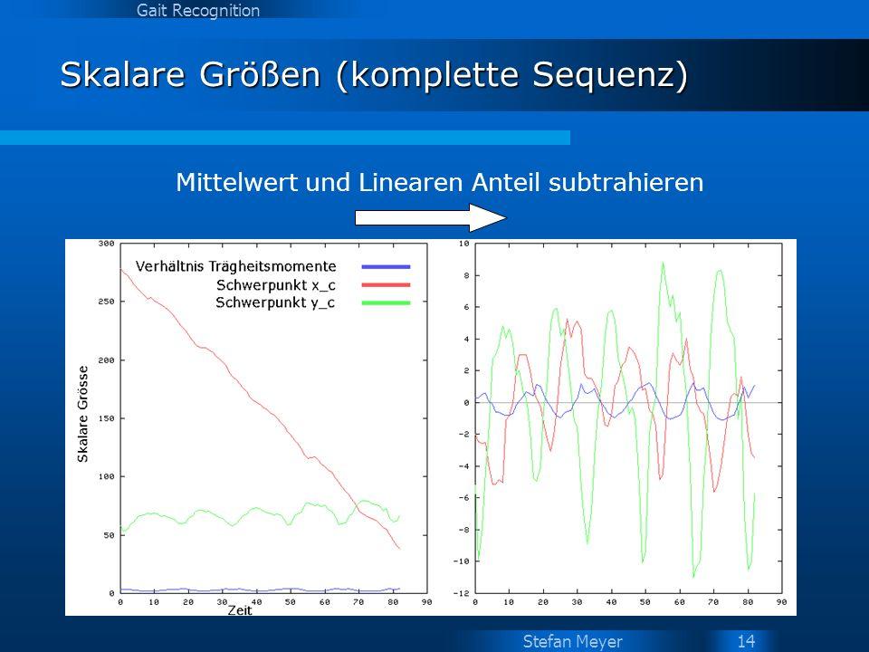 Stefan Meyer Gait Recognition 14 Skalare Größen (komplette Sequenz) Mittelwert und Linearen Anteil subtrahieren