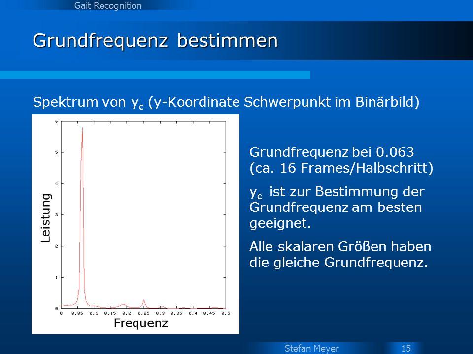 Stefan Meyer Gait Recognition 15 Grundfrequenz bestimmen Spektrum von y c (y-Koordinate Schwerpunkt im Binärbild) Grundfrequenz bei 0.063 (ca. 16 Fram