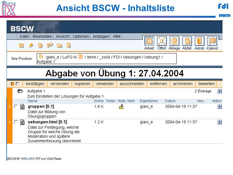 FdI Ansicht BSCW - Inhaltsliste