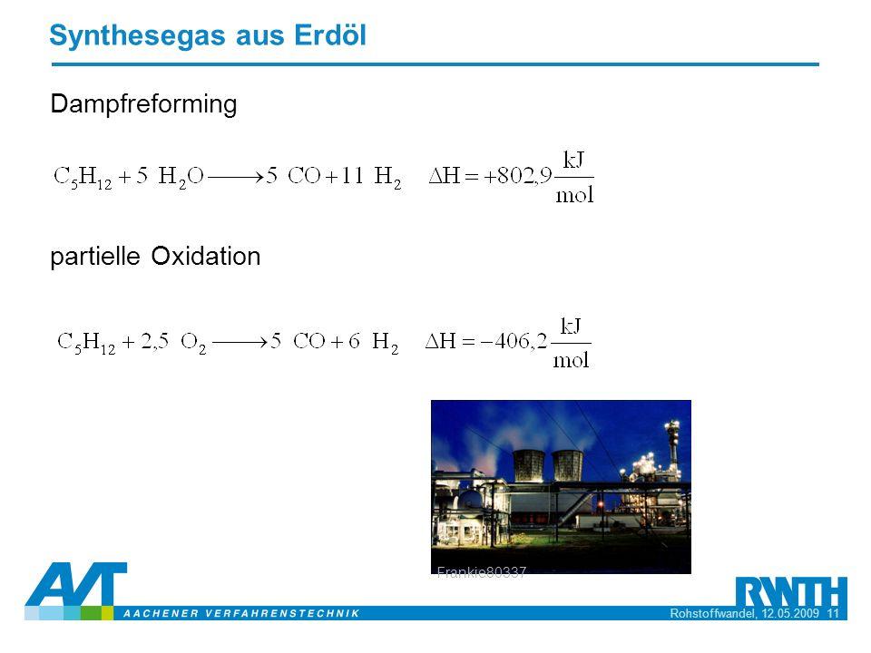 Rohstoffwandel, 12.05.2009 11 Synthesegas aus Erdöl Dampfreforming partielle Oxidation Frankie80337