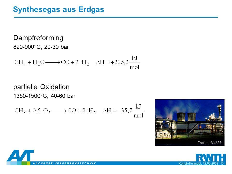 Rohstoffwandel, 12.05.2009 15 Synthesegas aus Erdgas Dampfreforming 820-900°C, 20-30 bar partielle Oxidation 1350-1500°C, 40-60 bar Frankie80337