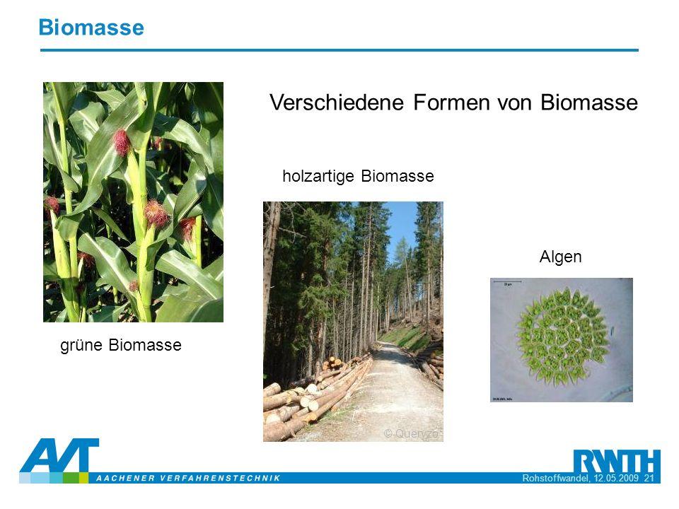 Rohstoffwandel, 12.05.2009 21 Biomasse Verschiedene Formen von Biomasse grüne Biomasse Algen holzartige Biomasse © Queryzo