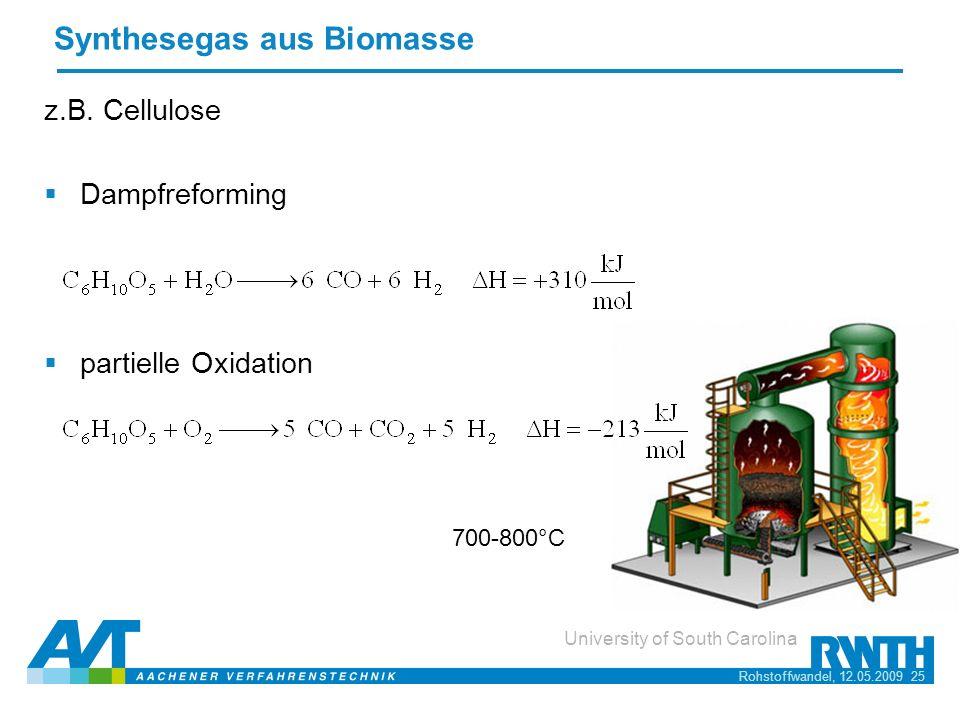 Rohstoffwandel, 12.05.2009 25 University of South Carolina Synthesegas aus Biomasse z.B. Cellulose Dampfreforming partielle Oxidation 700-800°C