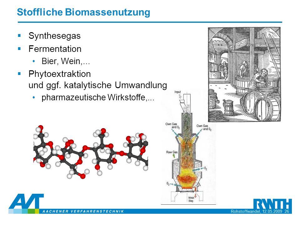Rohstoffwandel, 12.05.2009 26 Stoffliche Biomassenutzung Synthesegas Fermentation Bier, Wein,... Phytoextraktion und ggf. katalytische Umwandlung phar