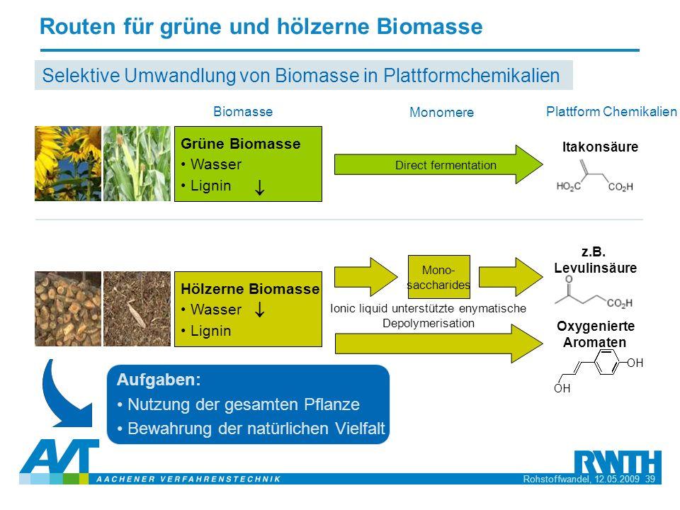 Rohstoffwandel, 12.05.2009 39 Selektive Umwandlung von Biomasse in Plattformchemikalien Plattform Chemikalien Monomere Itakonsäure Direct fermentation
