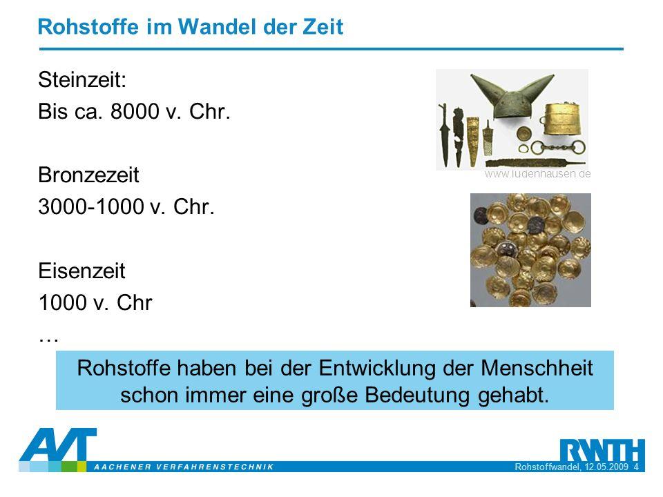 Rohstoffwandel, 12.05.2009 5 Rohstoffwandel: Holz Kohle Kohle hat einst Holz als Energierohstoff abgelöst.