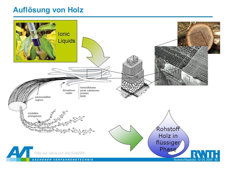 Rohstoffwandel, 12.05.2009 40 Auflösung von Holz Ionic Liquids Fotos aus nature.com and Sixta2006 Rohstoff Holz in flüssiger Phase