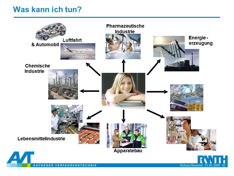 Rohstoffwandel, 12.05.2009 43 Chemische Industrie Lebensmittelindustrie Pharmazeutische Industrie Apparatebau Energie- erzeugung Luftfahrt & Automobil