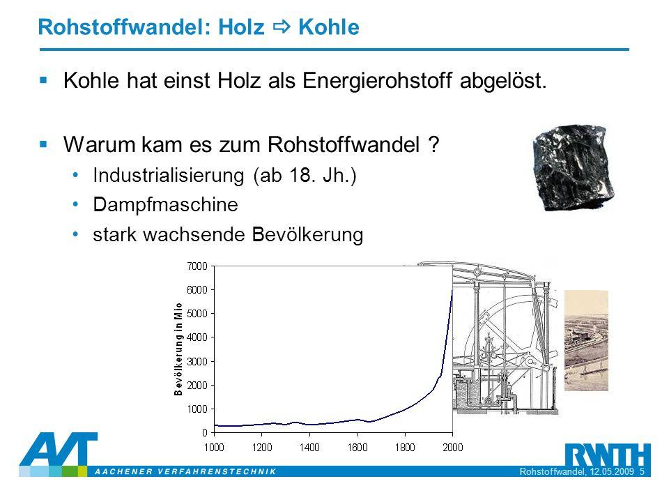 Rohstoffwandel, 12.05.2009 5 Rohstoffwandel: Holz Kohle Kohle hat einst Holz als Energierohstoff abgelöst. Warum kam es zum Rohstoffwandel ? Industria