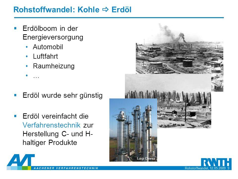 Rohstoffwandel, 12.05.2009 9 Rohstoffwandel: Kohle Erdöl Erdölboom in der Energieversorgung Automobil Luftfahrt Raumheizung … Erdöl wurde sehr günstig