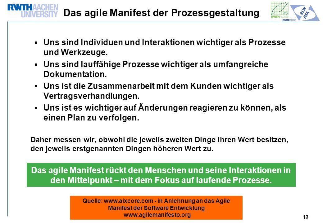 13 Das agile Manifest der Prozessgestaltung Uns sind Individuen und Interaktionen wichtiger als Prozesse und Werkzeuge.
