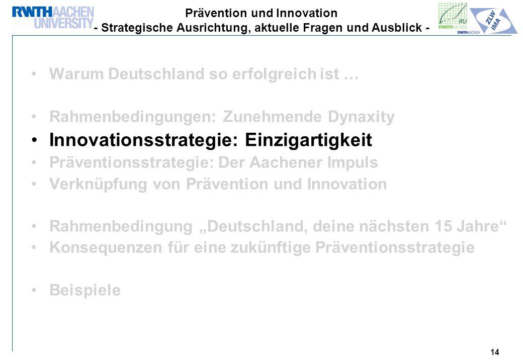 14 Warum Deutschland so erfolgreich ist … Rahmenbedingungen: Zunehmende Dynaxity Innovationsstrategie: Einzigartigkeit Präventionsstrategie: Der Aachener Impuls Verknüpfung von Prävention und Innovation Rahmenbedingung Deutschland, deine nächsten 15 Jahre Konsequenzen für eine zukünftige Präventionsstrategie Beispiele Prävention und Innovation - Strategische Ausrichtung, aktuelle Fragen und Ausblick -