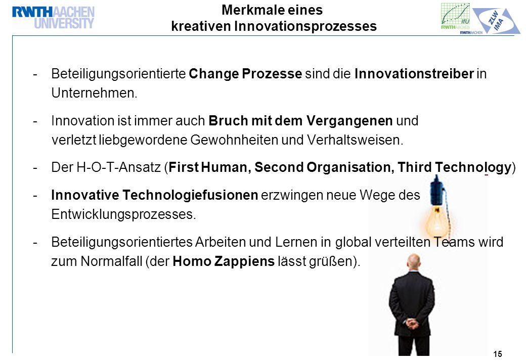 15 Merkmale eines kreativen Innovationsprozesses -Beteiligungsorientierte Change Prozesse sind die Innovationstreiber in Unternehmen.