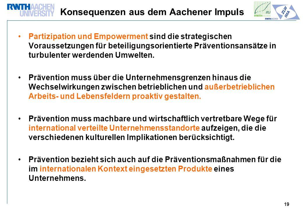 19 Konsequenzen aus dem Aachener Impuls Partizipation und Empowerment sind die strategischen Voraussetzungen für beteiligungsorientierte Präventionsansätze in turbulenter werdenden Umwelten.