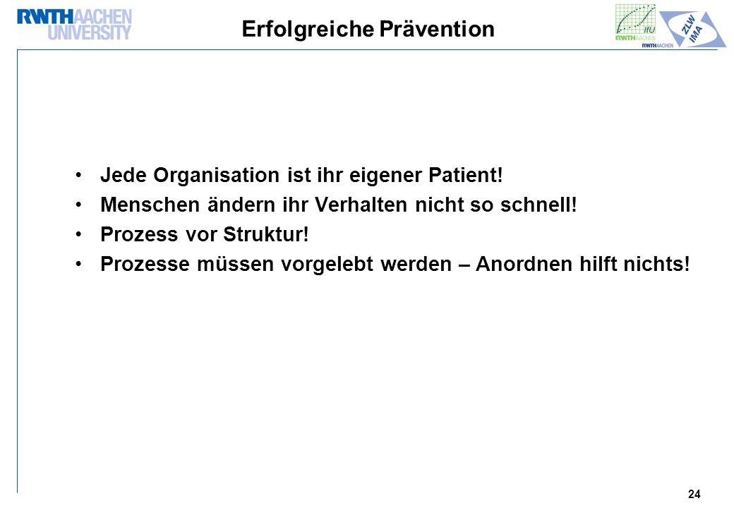 24 Erfolgreiche Prävention Jede Organisation ist ihr eigener Patient.