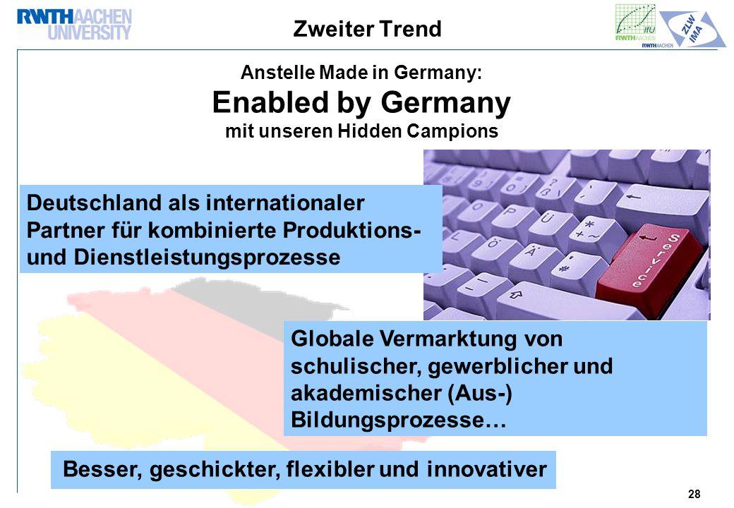 28 Zweiter Trend Anstelle Made in Germany: Enabled by Germany mit unseren Hidden Campions Deutschland als internationaler Partner für kombinierte Produktions- und Dienstleistungsprozesse Globale Vermarktung von schulischer, gewerblicher und akademischer (Aus-) Bildungsprozesse… Besser, geschickter, flexibler und innovativer