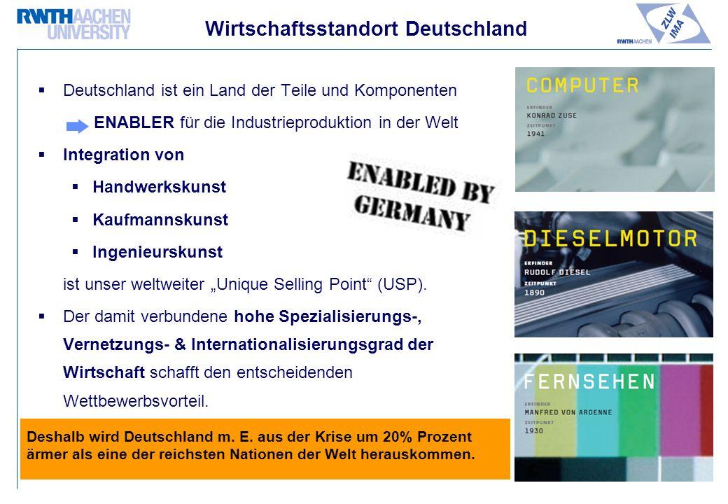 Wirtschaftsstandort Deutschland Deutschland ist ein Land der Teile und Komponenten ENABLER für die Industrieproduktion in der Welt Integration von Handwerkskunst Kaufmannskunst Ingenieurskunst ist unser weltweiter Unique Selling Point (USP).