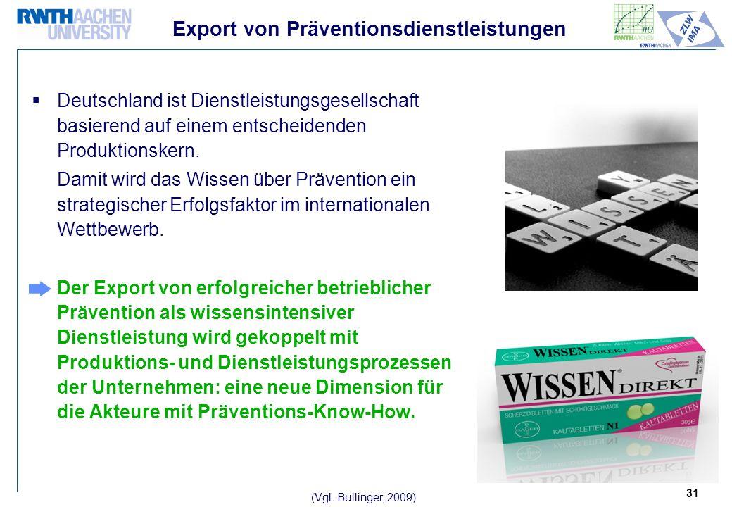 31 Export von Präventionsdienstleistungen Deutschland ist Dienstleistungsgesellschaft basierend auf einem entscheidenden Produktionskern.