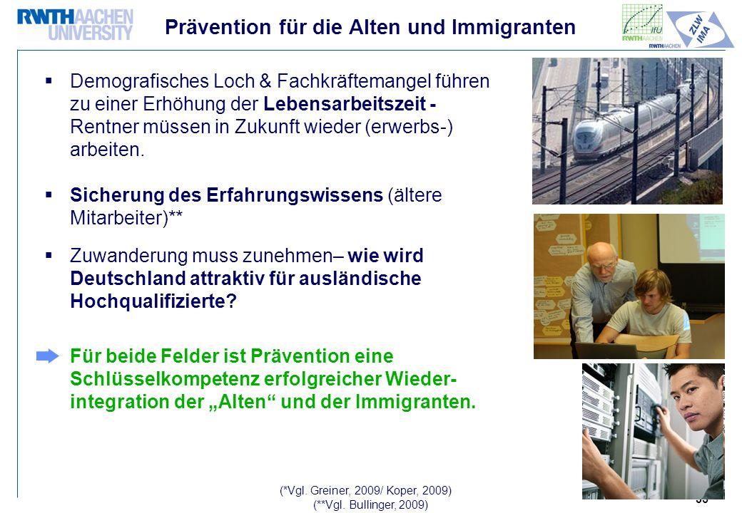35 Prävention für die Alten und Immigranten Demografisches Loch & Fachkräftemangel führen zu einer Erhöhung der Lebensarbeitszeit - Rentner müssen in Zukunft wieder (erwerbs-) arbeiten.