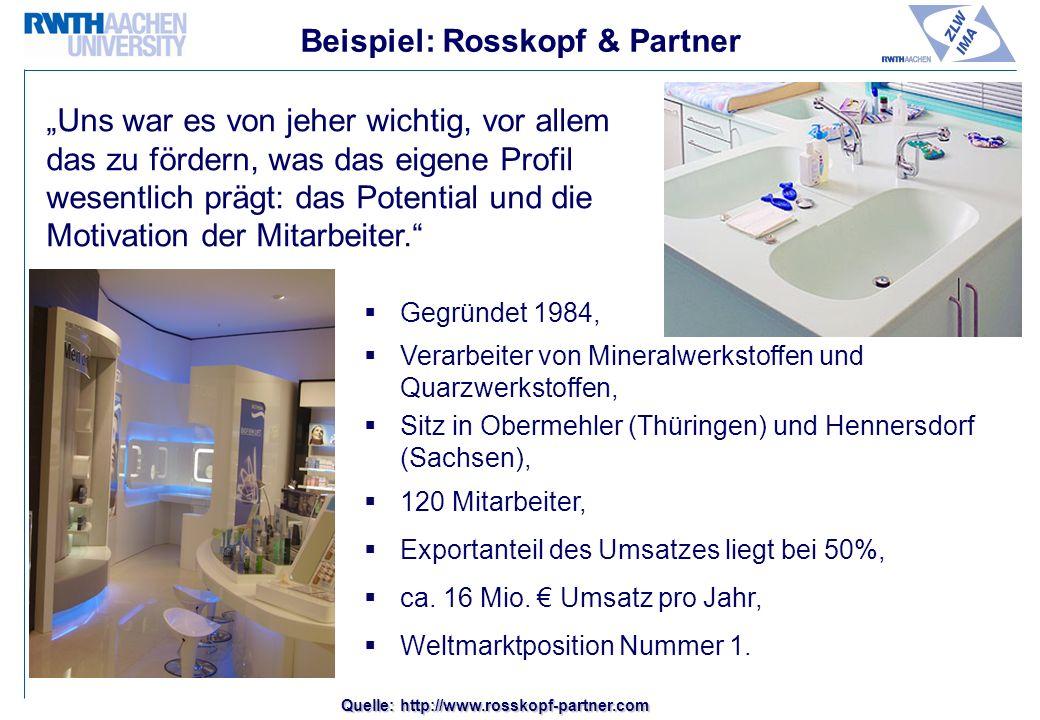 Beispiel: Rosskopf & Partner Gegründet 1984, Verarbeiter von Mineralwerkstoffen und Quarzwerkstoffen, Sitz in Obermehler (Thüringen) und Hennersdorf (Sachsen), 120 Mitarbeiter, Exportanteil des Umsatzes liegt bei 50%, ca.