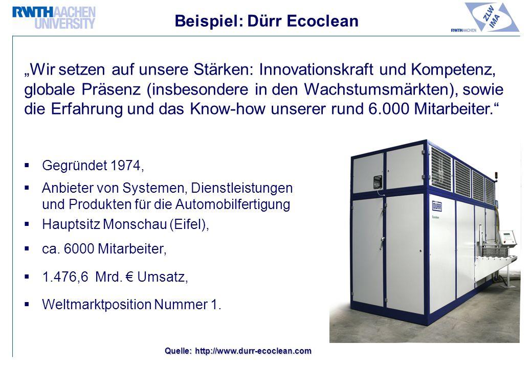 Beispiel: Dürr Ecoclean Gegründet 1974, Anbieter von Systemen, Dienstleistungen und Produkten für die Automobilfertigung Hauptsitz Monschau (Eifel), ca.