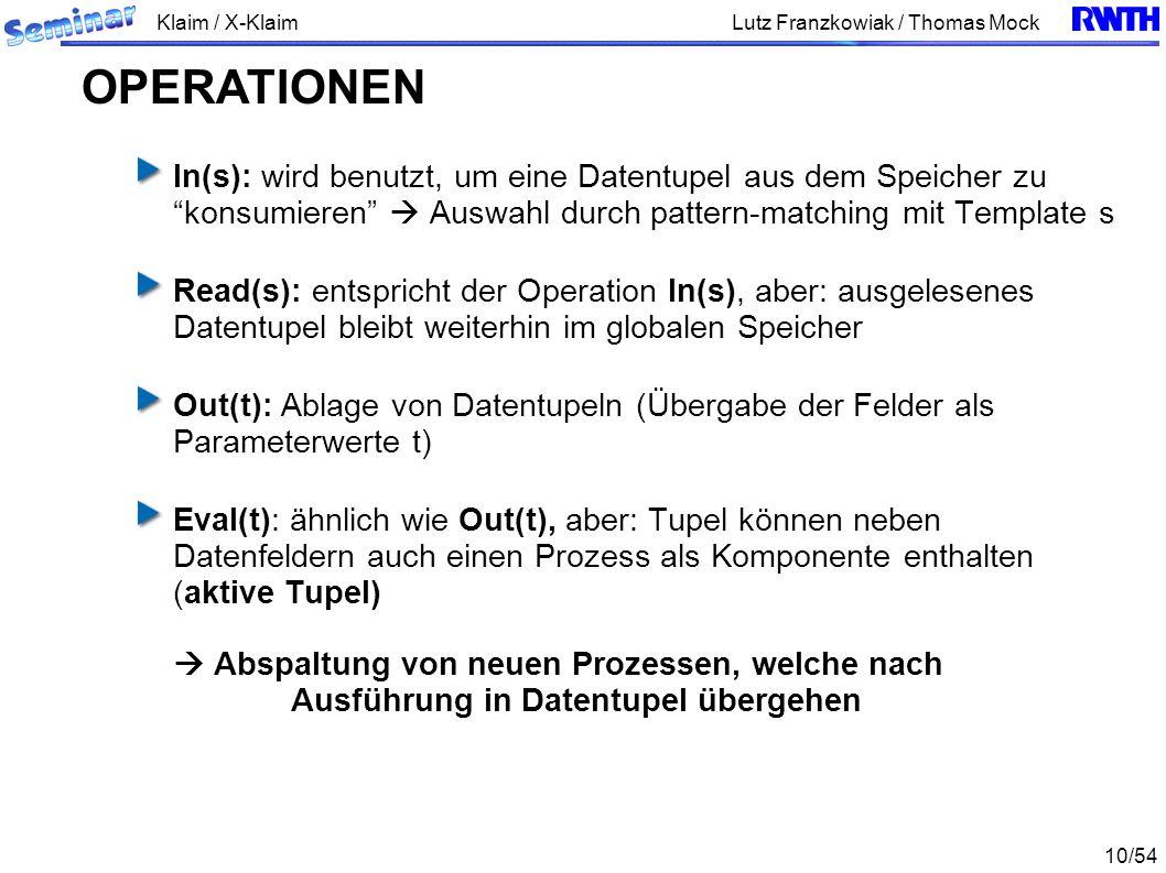 Klaim / X-Klaim 10/54 Lutz Franzkowiak / Thomas Mock In(s): wird benutzt, um eine Datentupel aus dem Speicher zu konsumieren Auswahl durch pattern-matching mit Template s Read(s): entspricht der Operation In(s), aber: ausgelesenes Datentupel bleibt weiterhin im globalen Speicher Out(t): Ablage von Datentupeln (Übergabe der Felder als Parameterwerte t) Eval(t): ähnlich wie Out(t), aber: Tupel können neben Datenfeldern auch einen Prozess als Komponente enthalten (aktive Tupel) Abspaltung von neuen Prozessen, welche nach Ausführung in Datentupel übergehen OPERATIONEN