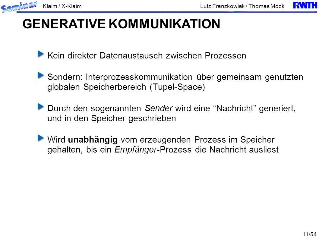 Klaim / X-Klaim 11/54 Lutz Franzkowiak / Thomas Mock Kein direkter Datenaustausch zwischen Prozessen Sondern: Interprozesskommunikation über gemeinsam genutzten globalen Speicherbereich (Tupel-Space) Durch den sogenannten Sender wird eine Nachricht generiert, und in den Speicher geschrieben Wird unabhängig vom erzeugenden Prozess im Speicher gehalten, bis ein Empfänger-Prozess die Nachricht ausliest GENERATIVE KOMMUNIKATION